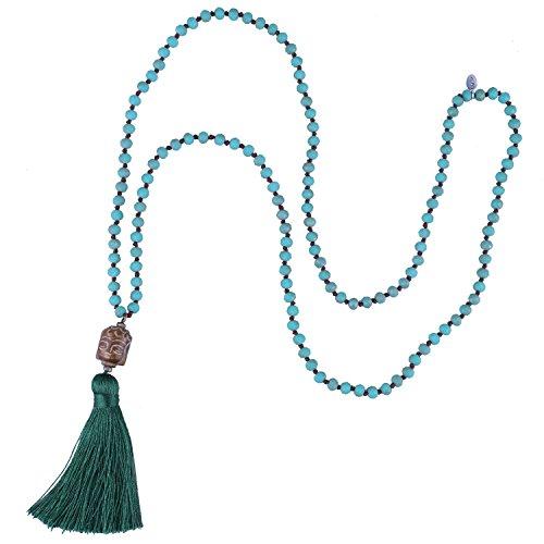 KELITCH 2020 Nuevo Colgante Borla Colorida Piedra Natural con Cuentas Collares de Hilo Largo Estilo Yoga (Verde B)