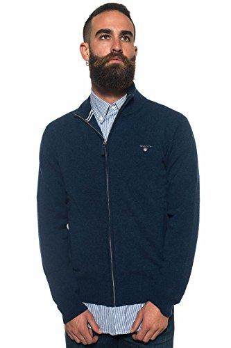 GANT Lambswool Zip Cardigan, Blu (Cobalt Blue Mel 482), XXXL Uomo