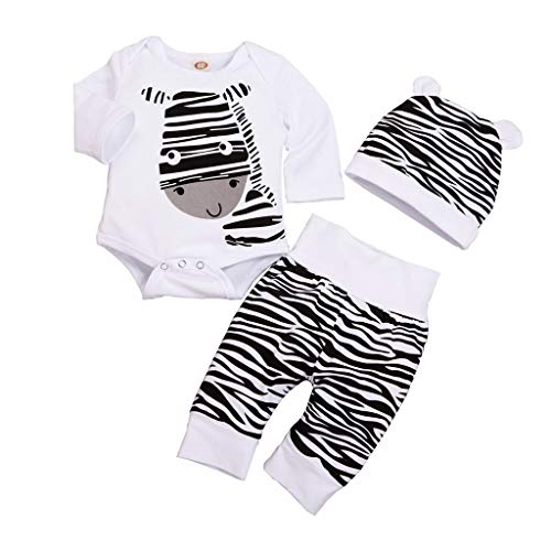 BBSMLIN 0 a 12 Meses Recien Nacido Bebe Niño Cebra Ropa de Conjunto/3PC, Monos de Manga Larga + Pantalón + Gorro