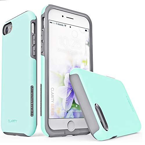 "TEAM LUXURY iPhone SE 2020 Case, iPhone 8 Case, iPhone 7 Case [Clarity Series] Dual Layer [Shock Absorbent] Protective Phone Case for Apple iPhone 8/7/SE 2nd Generation 4.7"" (Soft Mint/Gray)"