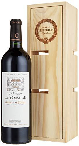 Famille Helfrich, Geschenkset, Château Cap L'Ousteau in Holzkiste verwandelbar zu einem Weinregal, Rotwein aus Frankreich, 1 Flasche + Holzkiste (1 x 0.75 l)