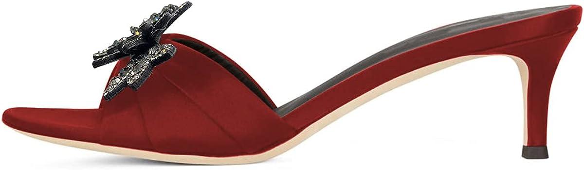 XYD Women Mules Open Toe Sandals Slip on Low Kitten Heel with Rhinestone Flower Slide Slipper Shoes