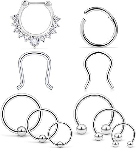 10Stück 16G Chirurgenstahl Septum Piercing Nasenpiercing Tragus Cartilage Retainer Piercing Körperschmuck
