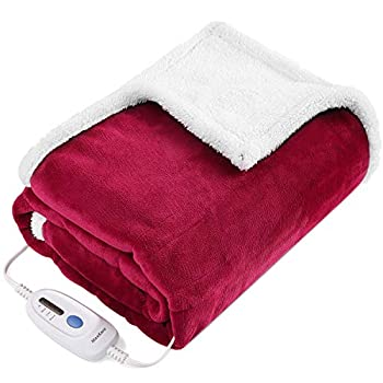 Electric Blanket Heated Throw Fast Heating Blanket Flannel & Sherpa Reversible 50  x 60  with 3 Hours Auto Off & 4 Temperature Settings ETL Certification Bed Sofa Use & Machine Washable