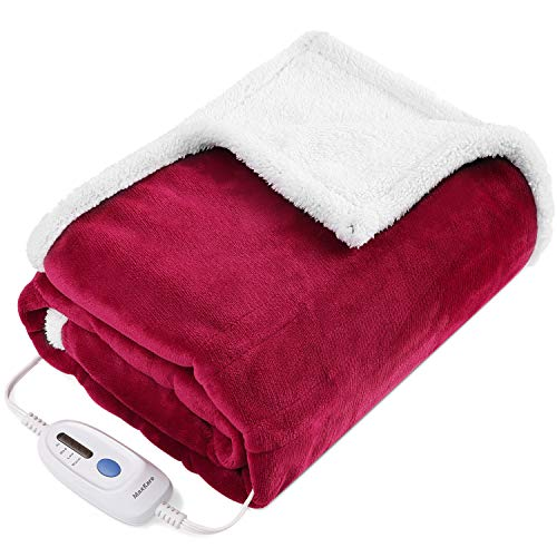 """Electric Blanket Heated Throw Fast Heating Blanket Flannel & Sherpa Reversible 50"""" x 60"""" with 3 Hours Auto Off & 4 Temperature Settings, ETL Certification, Bed Sofa Use & Machine Washable"""