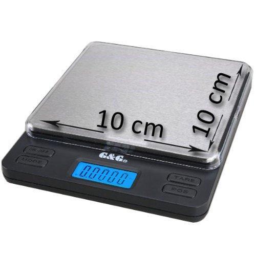 GundG LS - Bilancia digitale di precisione tascabile, per cucina/oro/monete, 1000g/0,05g, superficie di carico XL