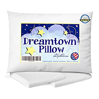 Dreamtown Kids Toddler Pillow with Pillowcase 14x19 White - Chiropractor Recommended Made in USA Ideal for Daycare Baby Cribs Toddler beds and car Rides.