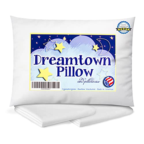 Dreamtown Kids Toddler Pillow with Pillowcase...