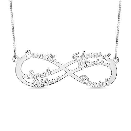 Namenskette Unendlichkeits Persönalisierte Infinity Namen Halskette mit 1 bis 6 Namen 925 Sterling Silber, für Familien Muttertagsgeschenk (Silber,55cm)
