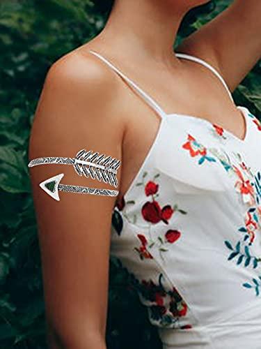 Sethain Boho Brazo Brazalete Pluma Pulseras de brazo Ajustable Superior Brazalete Brazalete espiral para mujeres y niñas