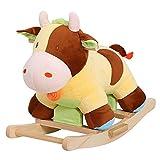 HOMCOM Kinder Schaukel Schaukeltier Schaukelpferd Schaukel Kuh Spielzeug Baby Braun Gelb L60 x B34 x H46 cm