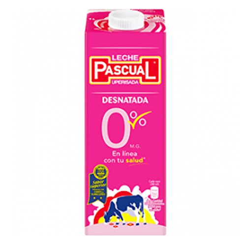 Leche Desnatada Pascual PACK DE 30 BRICKS en formato 1L - Total 30L de leche - Incluyendo envio express 24/48s