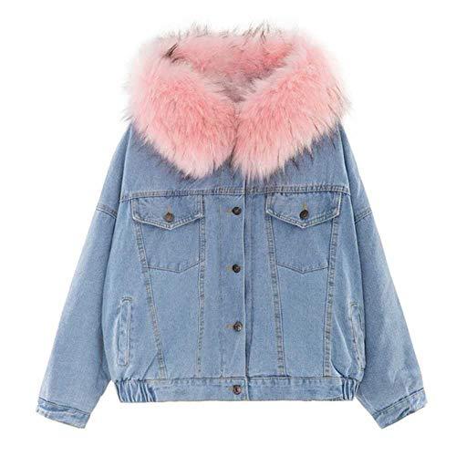 YUNXIANG Herbst Winter Frauen Mäntel Jacke Taschen Lange Ärmel Warme Jeans mit Kapuze Outwear Mäntel Breite Denim Kurze Jacke