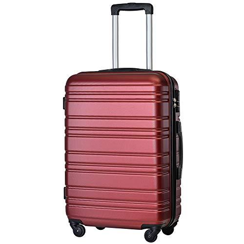 TANOBI スーツケース トラベルバッグ 超軽量 キャリーケース 【一年安心保証】 静音キャスター (L, ワインレッド)