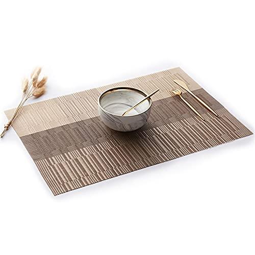 JKLJKL MATERÍA DE PLAME DE Bamboo Mujer ANULABLE Tabla DE PVC Antideslizante de Las Manchas Resistentes al Calor. Vinilo Tejido de Vinilo fácil de Limpiar (Color : Placemat 04, Size : 4 PCS)