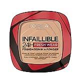 L'Oréal Paris Fondotinta Compatto Infaillible 24H Fresh Wear, Formula in Polvere, Mask-Friendly, Low-Transfer e Waterproof, Copre come un Fondotinta e Opacizza come una Polvere, 120 Vanilla/Vanille
