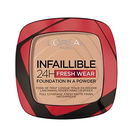 L Oréal Paris Fondotinta Compatto Infaillible 24H Fresh Wear, Formula in Polvere, Mask-Friendly, Low-Transfer e Waterproof, Copre come un Fondotinta e Opacizza come una Polvere, 120 Vanilla Vanille