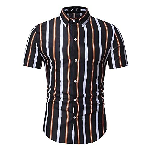 SSBZYES Camisas para Hombre Verano De Manga Corta Camisas De Talla Grande para Hombre Camisas De Rayas para...