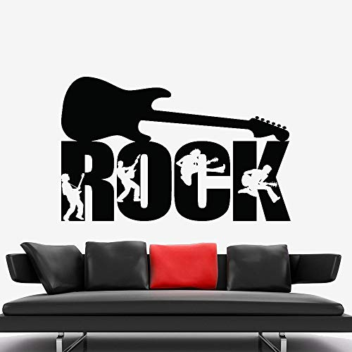 Rock Music Silhouette Wall Stickers Guitar Guitarist Transfer Musician Boys Bedroom Decor Wall Decal Music Room Mural Other Color 42x27cm