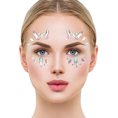 (STYLE 06) - Glamza Face Crystal Sticker 6 Gems Set Women Mermaid Rave Festival Glitter Rhinestone Temporary Tattoo Face Jewels Face Sticker Eyebrow F