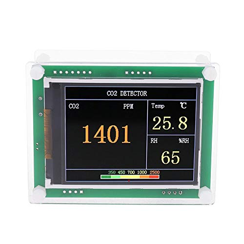 "AIR-Tester-Monitor 2.8""LCD CO2 Meter Kohlendioxid-Temperaturfeuchtigkeit Gasanalysator für Home Office-Auto (Color : Green)"