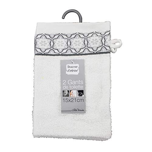 douceur d'intérieur 2 gants de toilette 15x21 cm eponge jacquard adelie blanc