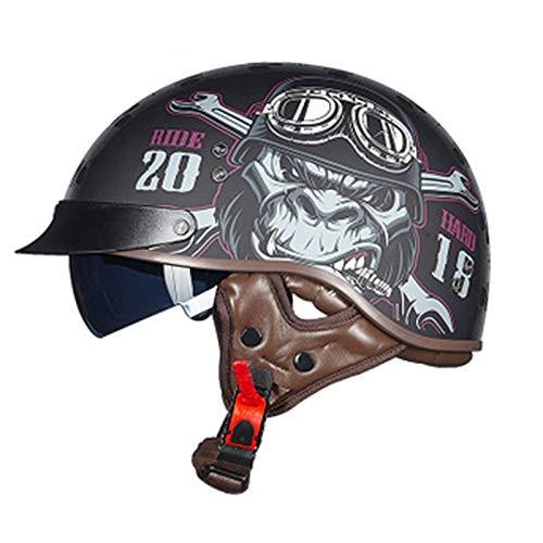 ABDOMINAL WHEEL Cascos de Motocicleta,Medio Casco de Moto con Visera Solar Doble,Unisexo Casco de Moto,Certificación ECE Cuatro Estaciones Cascos de Motocicleta E,L= 55~56cm