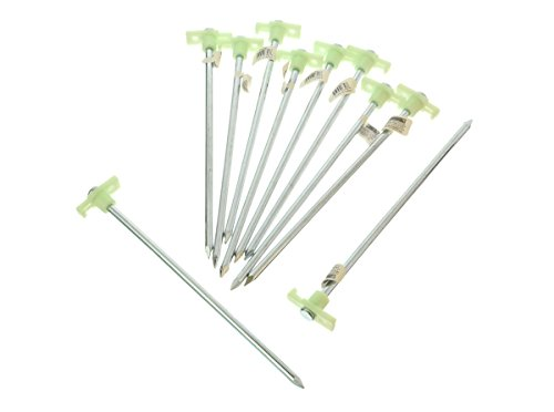 "SE 10-1/2"" Metal Tent Pegs with Glow-in-the-Dark Stoppers (10-Pack) - 910NRC10"
