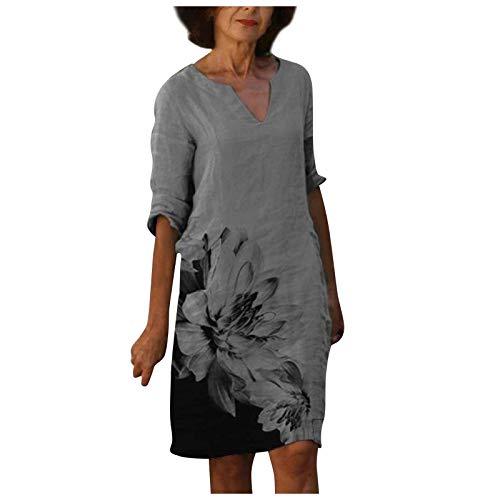 AFFGEQA Damen Sommerkleider Abstrakter Druck Kleider Rundhals Kurzarm Etuikleid Tunika Lose Beiläufig Elegant Strandkleider Abendkleid Midikleid