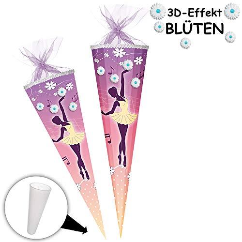 alles-meine.de GmbH mit _ 3D Effekt - Blumen & Blüten ! - Schultüte - Ballerina / Tänzerin - 70 cm - rund - Tüllabschluß - Zuckertüte - mit / ohne Kunststoff Spitze - Nestler - M..
