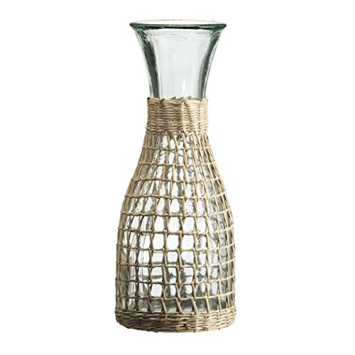 Amici Home, , Calypso Collection Glass Carafe, Recycled Glass, All Natural Handwoven Rattan Wrapping, 34 Ounces