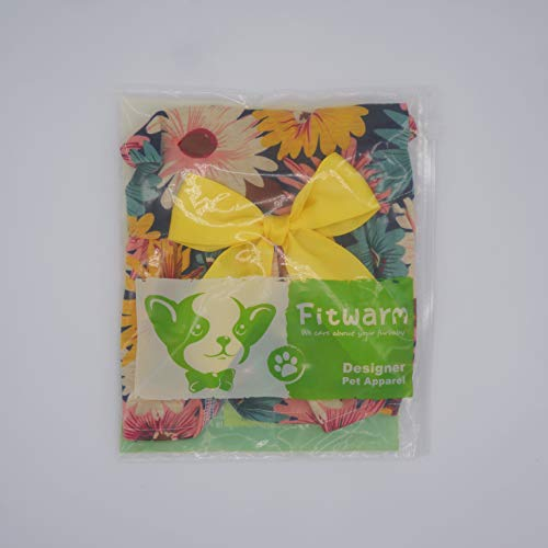 Fitwarm Pet Elegant Floral Ribbon Dog Dress Shirt Vest Sundress Clothes Apparel