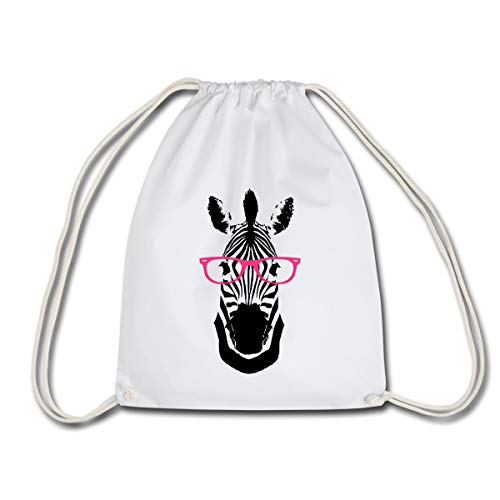 Spreadshirt Zebra Mit Sonnenbrille Nerdiges Wildpferd Turnbeutel, Weiß
