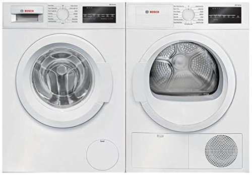 BOSCH White Front Load Laundry Pair with WAT28400UC 24 Washer and WTG86400UC 24 Electric Dryer