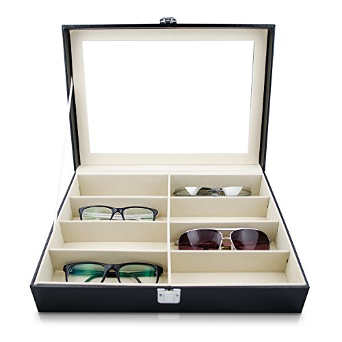 Grinscard Brillenbox zur Aufbewahrung von 8 Brillen - Schwarz 34 x 25 x 9 cm - Sonnenbrillen Präsentation Brillendisplay