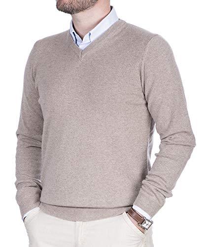 Maglione Uomo Scolo a V Puro Cashmere 100% Lana Pullover a Manica Lunga con Girocollo Soffice e Morbido (Beige, XL)
