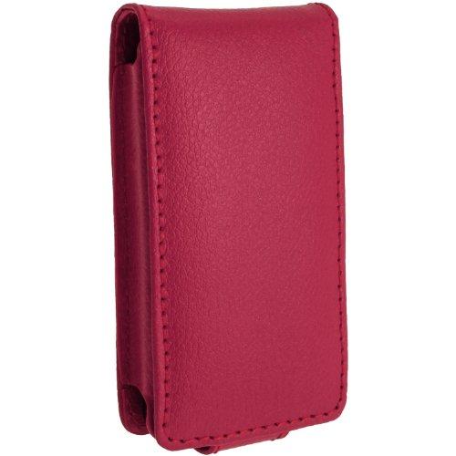 igadgitz U2759Echtem Leder mit abnehmbarem Karabiner und Displayschutzfolie Kompatibel mit Sony Walkman NWZ-E585- Rosa
