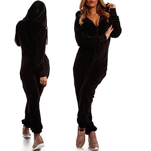 Crazy Age Damen Jumpsuit aus Samt (Nicki, Velvet) Wohlfühlen mit Style. Elegant, Kuschelig, Weich. Overall Ganzkörperanzug Onesie (Schwarz, L) - 4