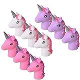 TE-Trend 9 Stück Einhorn Unicorn Fingerpuppe Handspielzeug Set weiß rosa lila -