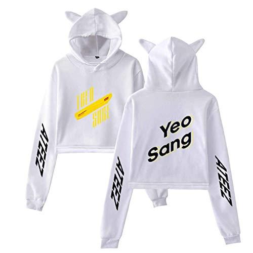 Kpop ATEEZ Sudadera con capucha suelta con orejas de gato para hombres y mujeres primavera clida ropa exterior