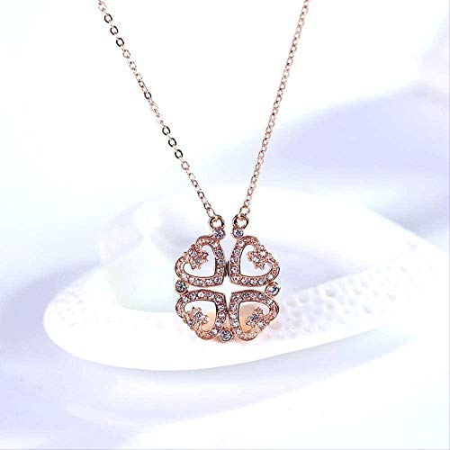 quanjiafu Necklace Heart Linked Fashion Crystal Necklace Short Pendant Ornament Fashion High-End European and American Jewelry Necklace