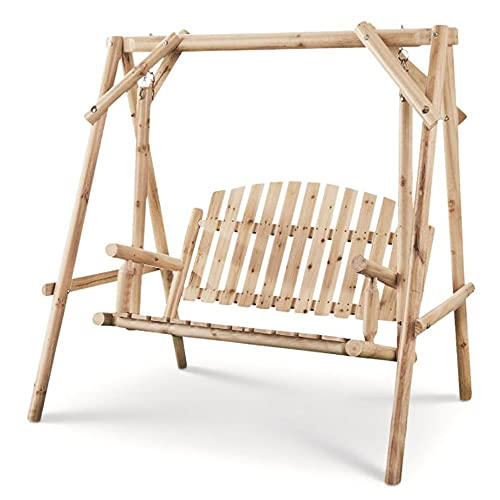 CASTLECREEK 4 Foot 2 Person Rustic Outdoor Patio Wooden Log Porch Swing and Frame with Protective Clear Coat and Hanging Hardware