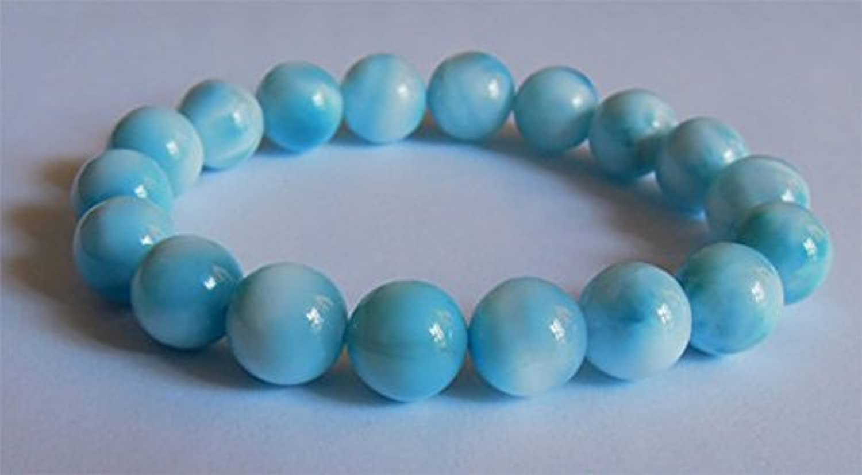 precios bajos 1 hilo natural azul azul azul Larimar elástico acabado pulsera cuentas rojoondas 10 mm 02446  ventas en línea de venta