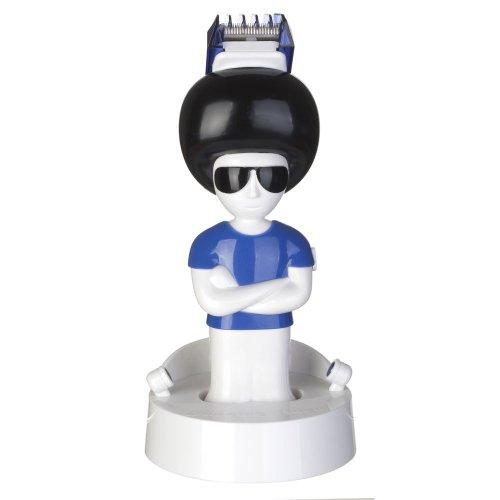 La Chaise Longue 32-F2-003 Tondeuse à cheveux Mister Hair 2 sabots interchangeables Blanc noir et bleu ABS et acier inoxydable D9,5 x H21 cm