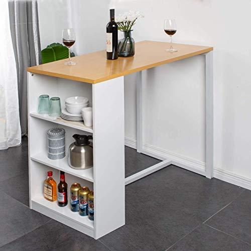 SogesHome Bartisch Küche Esstisch mit 3 Ablagefächern,Konsole für den, Korridor, Wohnzimmer, Schlafzimmer 120 x 55 x 100 cm,SH-GCBG1022-NWW