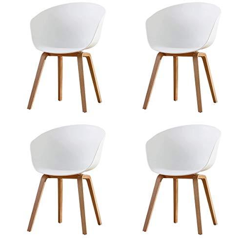 GroBKau 4er Set Esszimmerstuhl Skandinavische Sessel Seitenstuhl Retro Design, Weiß (Metallbeine)