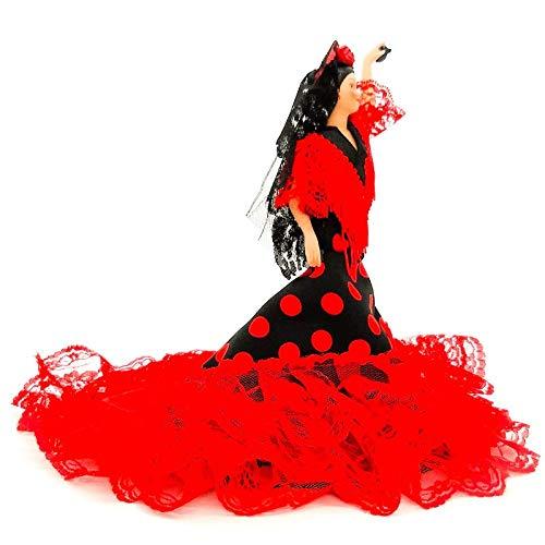 Folk Artesanía Muñeca Porcelana andaluza o Flamenca 28 cm (Rojo Lunar Blanco)