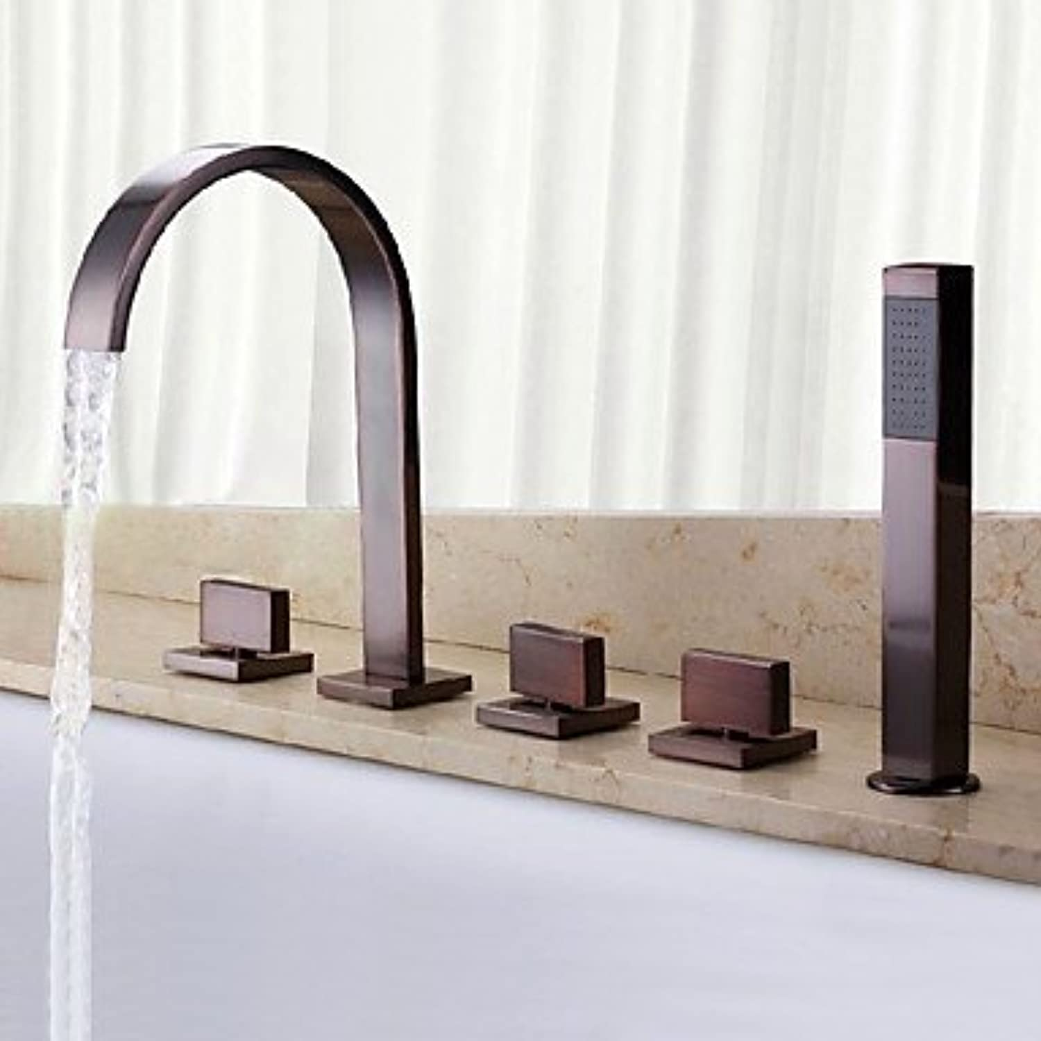 FYios Shower & Bath TapsAntique Classic Widespread Waterfall Handshower Included withThree Handles Five HolesOil-rubbed Bronze Finish Bathroom Bathtub Faucet Set