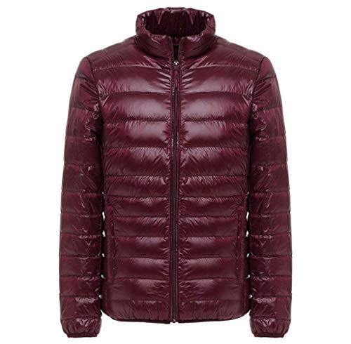 Herren Daunenjacke Mit Stehkragen Plus Size Ultra Lightweight Männer Coat Chic Jacke Lightdaune Daunenmantel Langarm Slim Fit Normallacks Steppjacke Outwear (Color : WineRed, Size : XL)