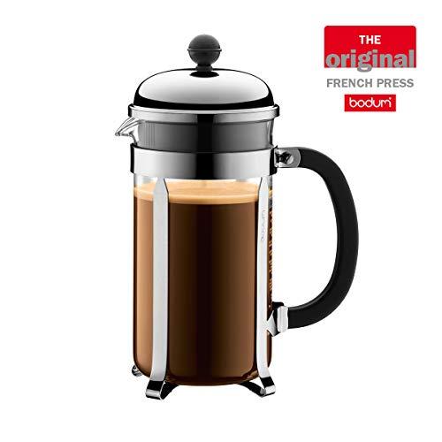 Bodum UK Chambord Kaffeebereiter Kaffeemaschine, Glas, Silber, 1,0Liter